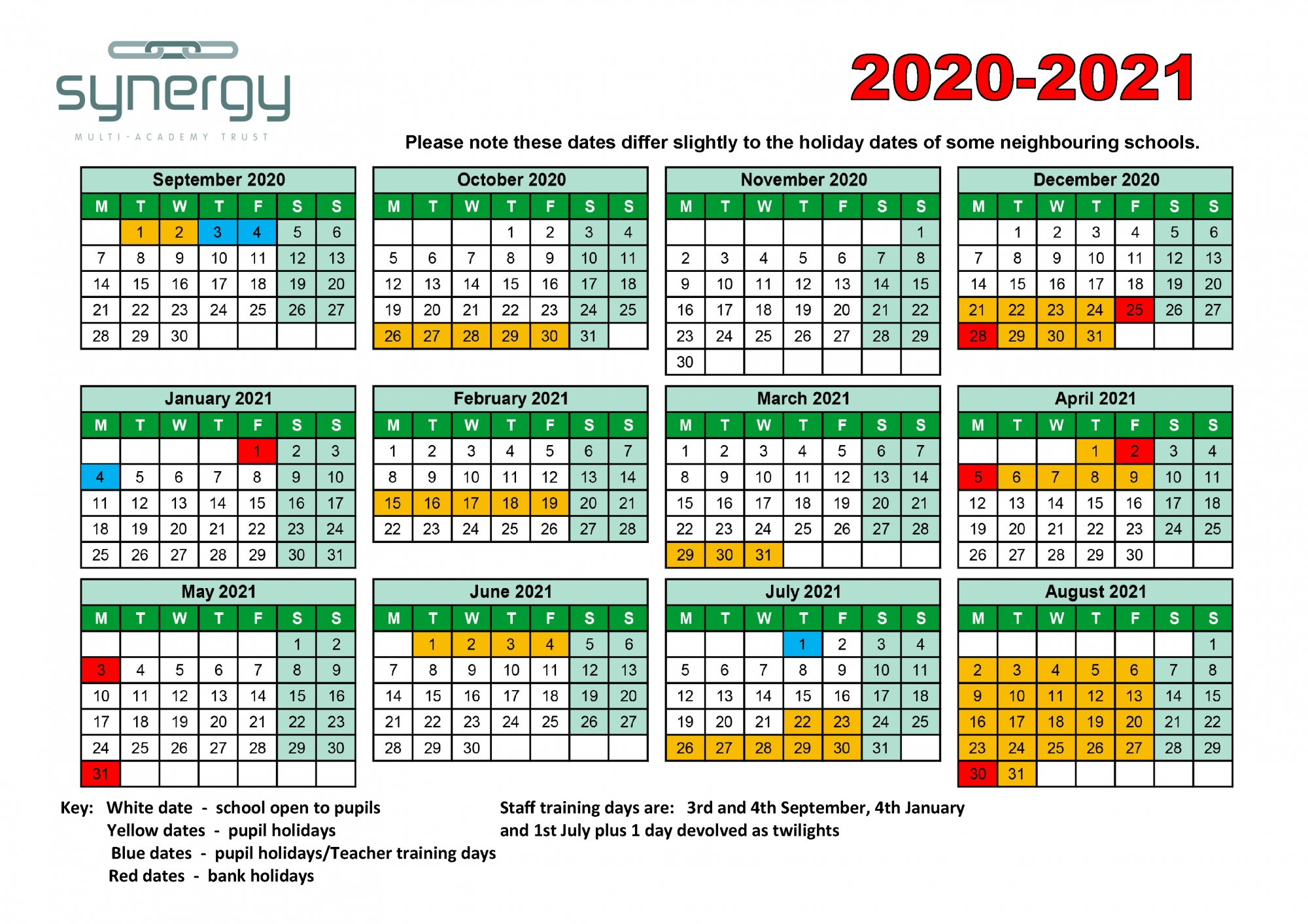 Synergy Term Dates 2020 - 2021